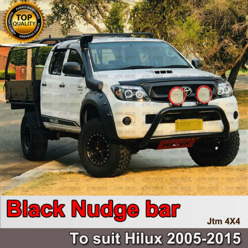 """Nudge Bar 3"""" Black Steel Grille Guard Suitable For Toyota Hilux 2005-2015"""