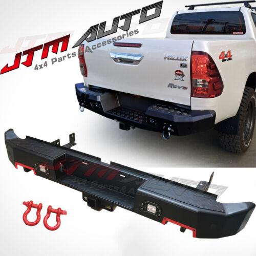 Heavy Duty Black Steel Rear Step Bar Tow Bar to suit Toyota Hilux N80 2015-2021
