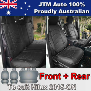 PREMIUM Black PU leather Waterproof Seat Covers to suit Toyota Hilux 2015-2018