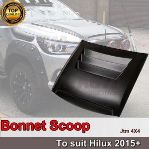 Tonka Style Black Bonnet Scoop Hood to suit Toyota Hilux 2015-2020