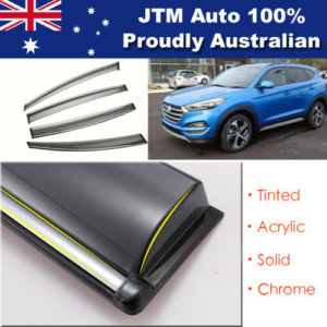 INJ Chrome Weather Shield Weathershield Window Visor for Hyundai Tucson 2015+