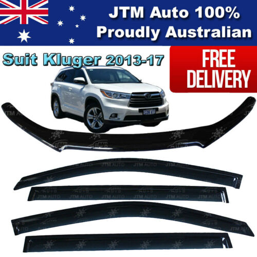 Bonnet Protector Guard + Weather Shields Visors to suit Toyota Kluger 2013-2019