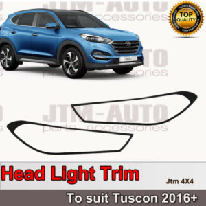 Black Head Light Cover Protector Trim to suit Hyundai Tuscon 2016+