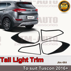 Black Tail Light Cover Protector Trim to suit Hyundai Tuscon 2016+
