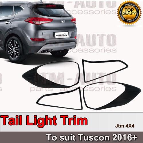 Black Tail Light Cover Protector Trim to suit Hyundai Tuscon 2016+