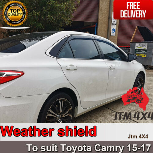 INJ Chrome Weather Shield Weathershield Window Visor to suit Toyota Camry 15-17