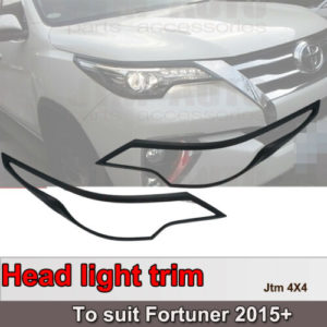 Black Head Light Cover Protector Trim to suit Toyota Fortuner 2015-2019