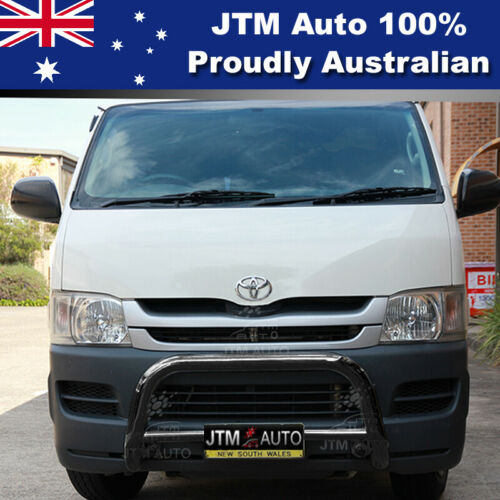 """Nudge Bar 3"""" Black Steel Grille Guard to suit Toyota Hiace LWB 2005-2019"""
