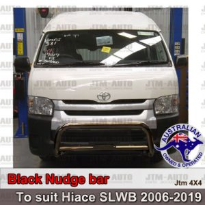 "Nudge Bar 3"" Black Steel Grille Guard to suit Toyota Hiace SLWB Commuter 05-19"