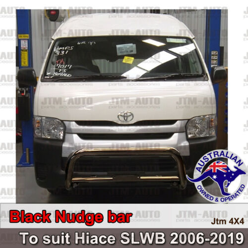 """Nudge Bar 3"""" Black Steel Grille Guard to suit Toyota Hiace SLWB Commuter 05-19"""