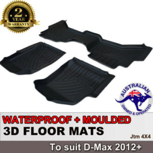3D TPO Floor Mats Waterproof to suit Isuzu D-max Dmax 2012-2019