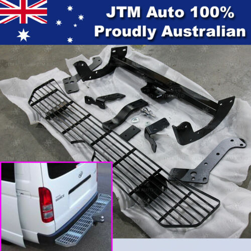 Rear Step Bumper Bar TOW BAR Black to suit Toyota Hiace 2005-2019 SLWB Only