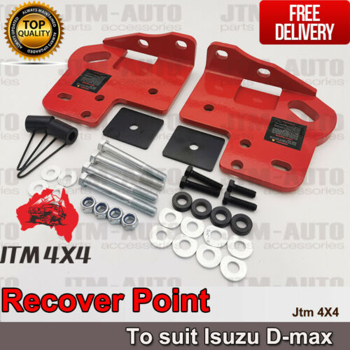 Recovery Tow Point Kit 12mm 5 Tonne & Hitch for Isuzu D-max Dmax Mux 2012-2020