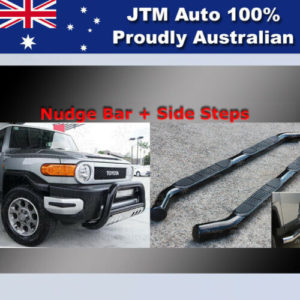 Side Steps + Nudge Bar Black Suitable For Toyota Fj Cruiser 2007-2016