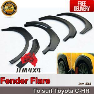 Matte Black Fender Flares Wheel Arch to suit Toyota C-HR CHR 2017-2020