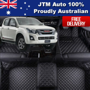 Custom Made Isuzu D-max Dmax 3D Floor Mats Leather Black Front + Rear  2012-2018