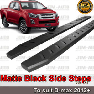 Heavy Duty Steel Black Off road Side Steps suit ISUZU D-max Dual Cab 2012-2020