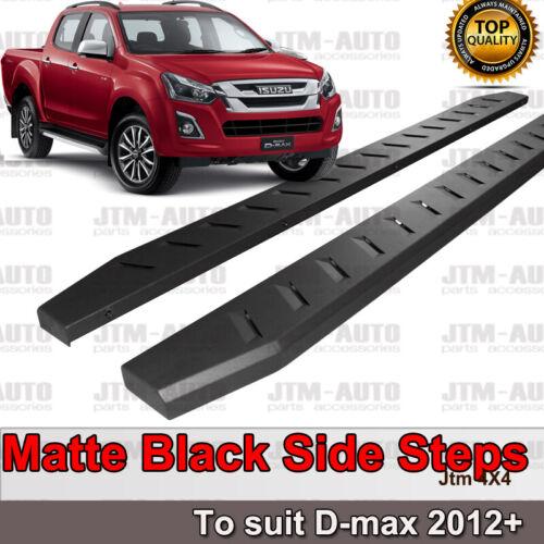 Heavy Duty Steel Black Off road Side Steps suit ISUZU D-max Dual Cab 2012-2020