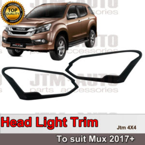 Black Head Light Cover Protector Trim to suit Isuzu Mux MU-X 2017+