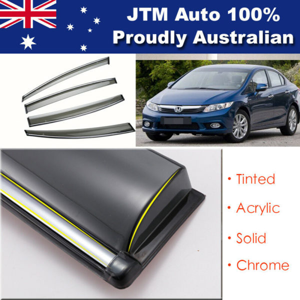 INJ Chrome Weather Shield Weathershield Window Visor for Honda Civic 9th 12-16