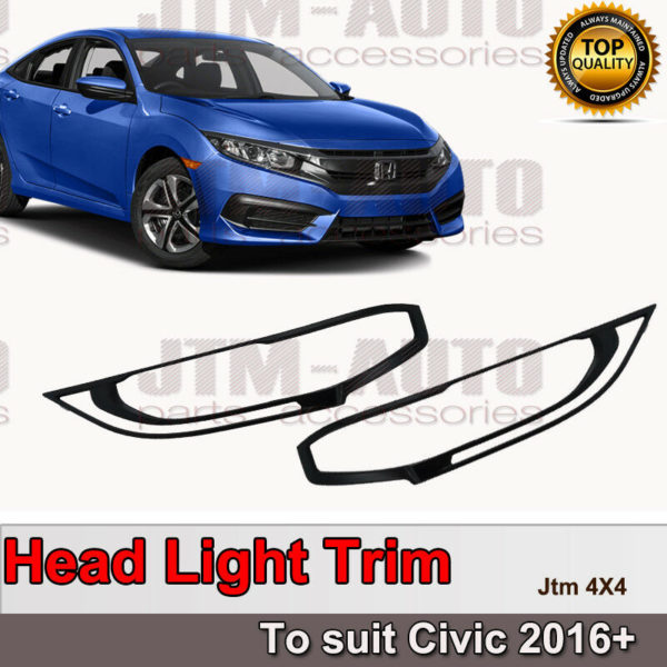 Black Head Light Cover Protector Trim to suit Honda Civic 2016+