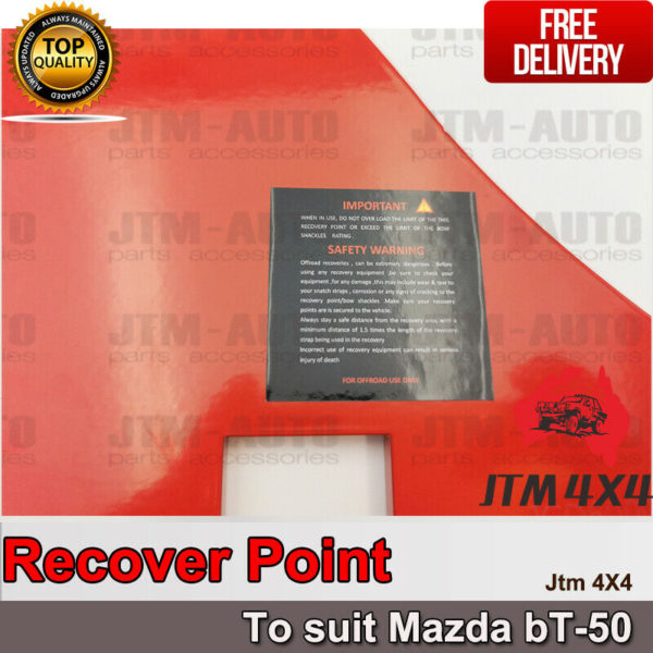 Recovery Tow Point Kit 12mm 5 Tonne Hitch to suit Mazda BT50 BT-50 2012-2020