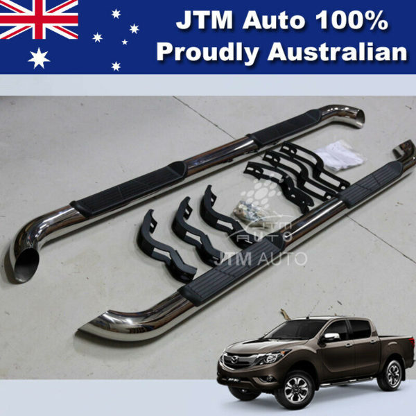 """Running Boards Side Steps 3"""" Stainless Steel to suit Mazda BT50 BT-50 2012-2020"""