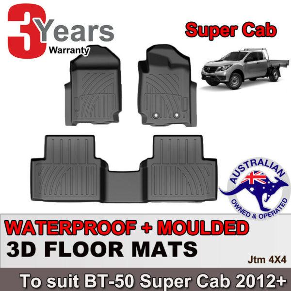 3D TPO Floor Mats Waterproof for Mazda BT-50 BT50 Super/Extra Cab 2012-2020