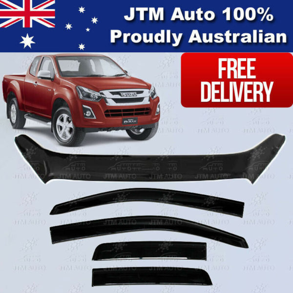 Bonnet Protector + Weather Shields For ISUZU D-max Dmax Extra/Super Cab 17-20