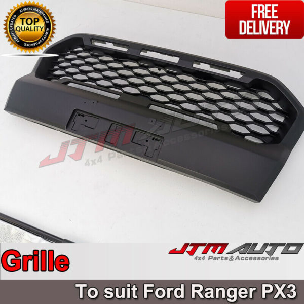 Front Mesh Grill to suit Ford Ranger Matte Black PX3 2018-2021 Wildtrak