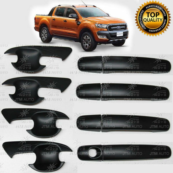 MATT Black Door Handle Bowl Cover Protector to suit Ford Ranger 2012-2020