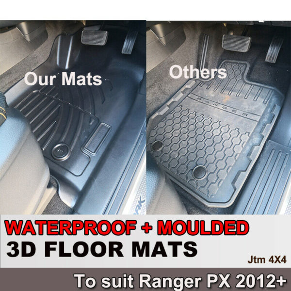 3D TPO Floor Mats Waterproof for Ford Ranger PX Super Cab Extra Cab 2012-2020