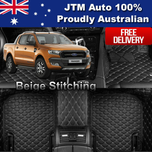 3D Custom Made Ford Ranger XLS XLT Floor Mats Front + Rear 12-19 Beige STITCH