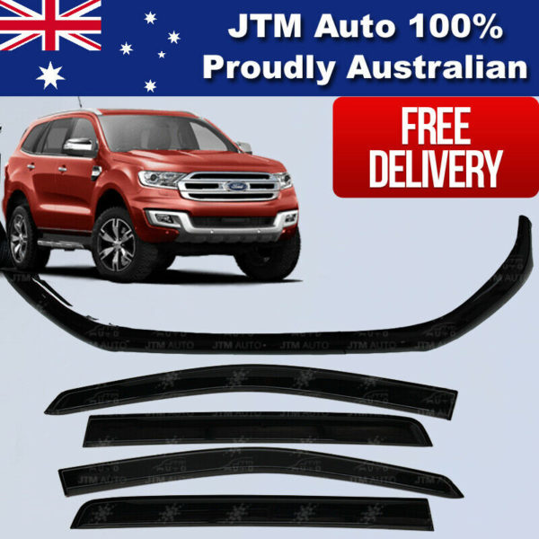 Bonnet Protector + Window Visors Weather shields to suit Ford Everest 2015-2021