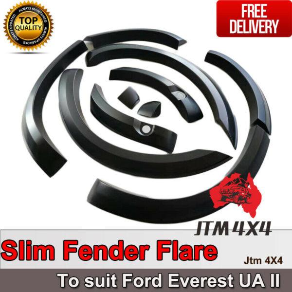 Slim Matte Black Fender Flares Wheel Arch to suit Ford Everest UAII 2018-2020