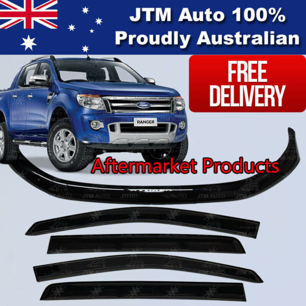 Bonnet Protector & Window Visors Weather Shield to suit Ford Ranger PX 2012-2015
