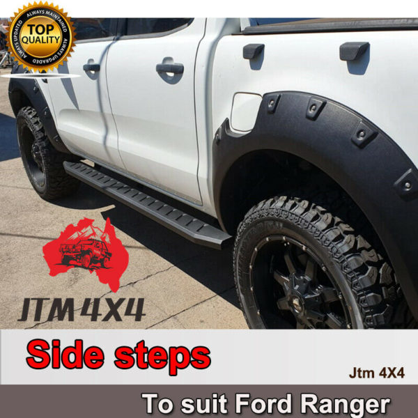 Heavy Duty Steel Black Off road Side Steps suit Ford Ranger PX PX2 PX3 2012-2021