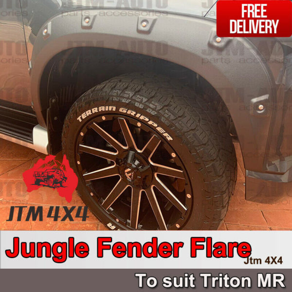 4 Pcs Wrinkle Fender Flares Wheel Arch Pocket to suit Mitsubishi Triton MR 2018+
