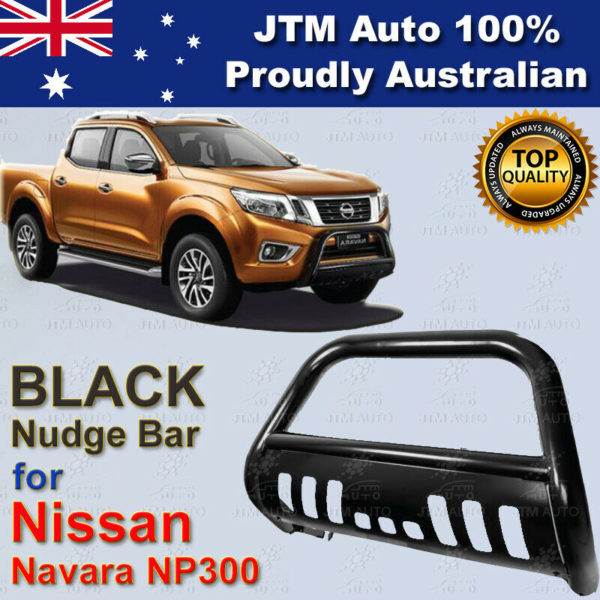"Nudge Bar 3"" tosuit Nissan Navara D23 Np300 2014-2020 Black Steel Grille Guard"