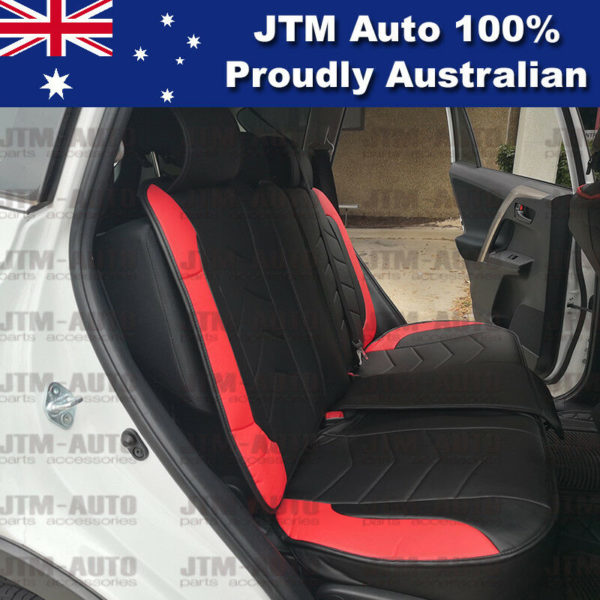 PREMIUM Red PU leather Waterproof Seat Covers to suit Toyota Rav4 2013-2018