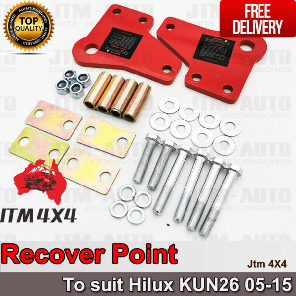 Recovery Tow Point Kit 12mm 3250 KG & Hitch to suit Toyota Hilux Kun26 2005-2015