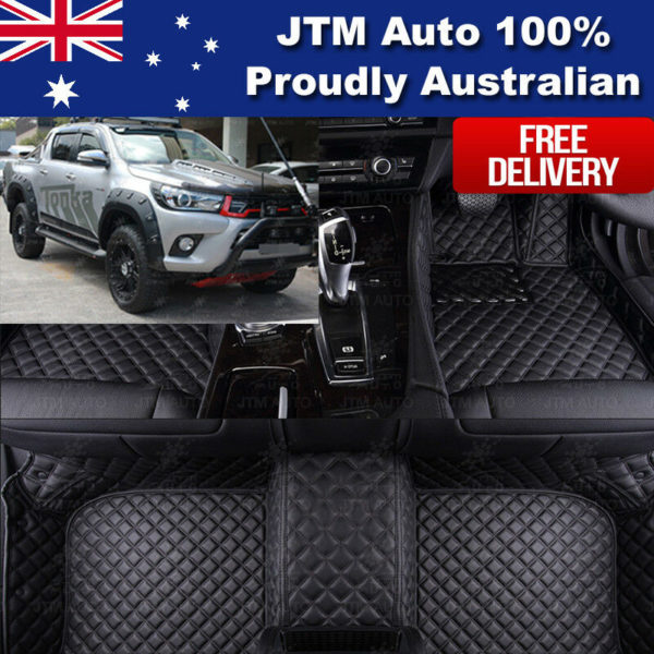 Custom Made 3D Leather Floor Mats PU Front + Rear to suit Toyota Hilux 2015-2018