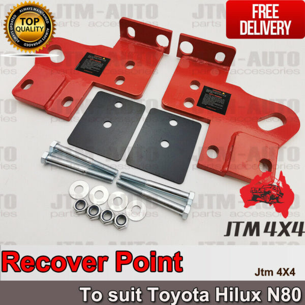 Recovery Tow Point Kit 12mm 5 Tonne & Hitch to suit Toyota Hilux N80 2015-2020