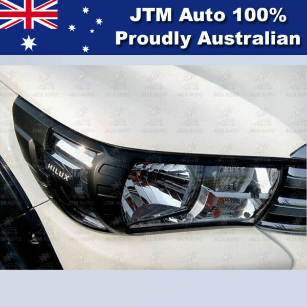 MATT Black Head Light Cover Protector to suit Toyota Hilux 2015-2019 SR Workmate