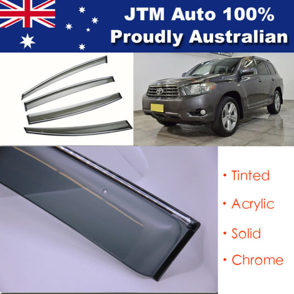 IJ Chrome Weather Shield Weathershield Window Visors to suit Toyota Kluger 07-13