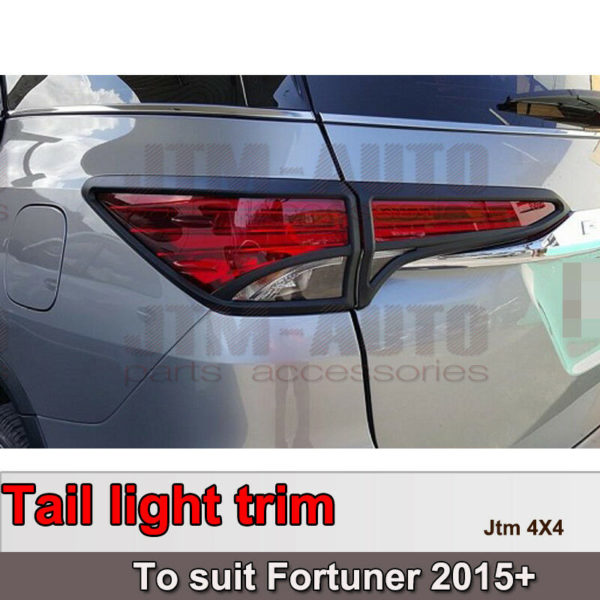 Black Tail Light Trim Cover Protector to suit Toyota Fortuner 2015-2019