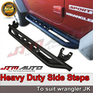 Heavy Duty Armor Black Off road Side Steps to suit Jeep Wrangler JK 2 Door 07-14