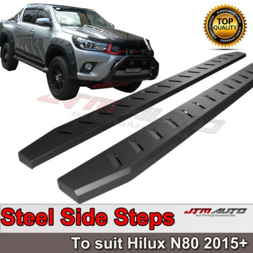 Heavy Duty Steel Black Off road Side Steps to suit Toyota Hilux N80 2015-2021