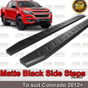 Heavy Duty Steel Black Off road Side Steps suit Holden Colorado Dual 2012-2020