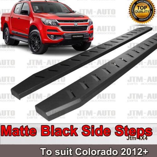 Heavy Duty Steel Black Off road Side Steps suit Holden Colorado Dual 2012-2020